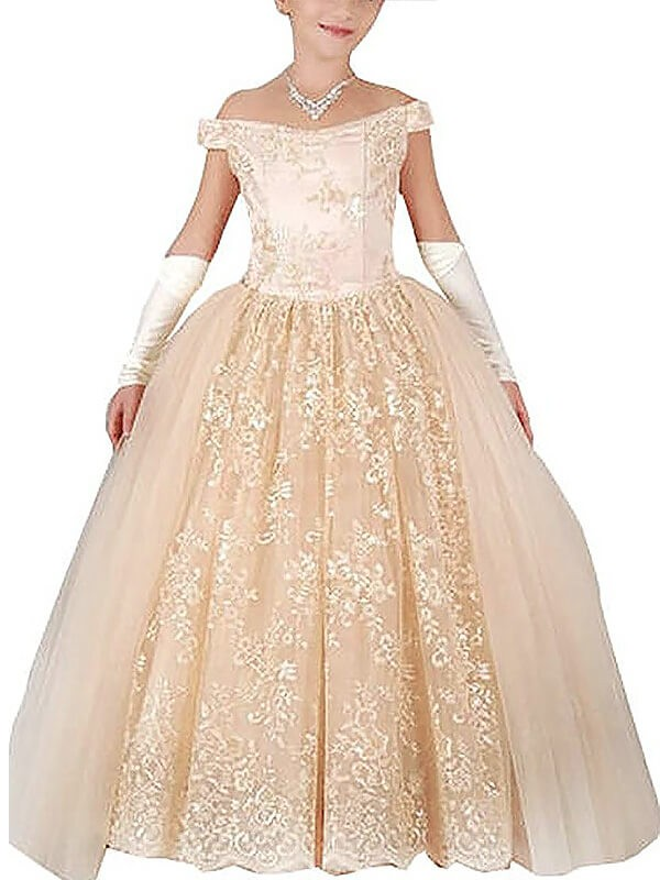 Floor-Length Ball Gown Off-the-Shoulder Sleeveless Applique Tulle Flower Girl Dresses