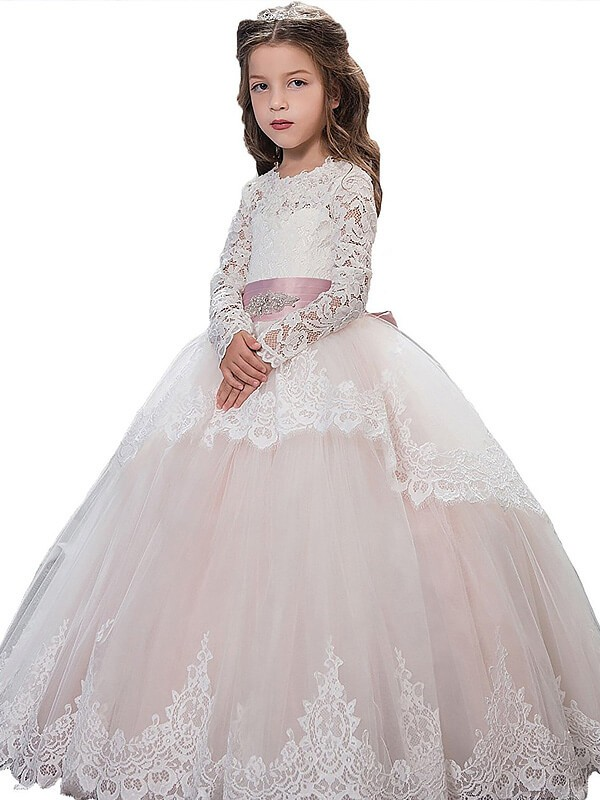 2d1ca561bd7 Floor-Length Ball Gown Jewel Long Sleeves Lace Tulle Flower Girl Dresses