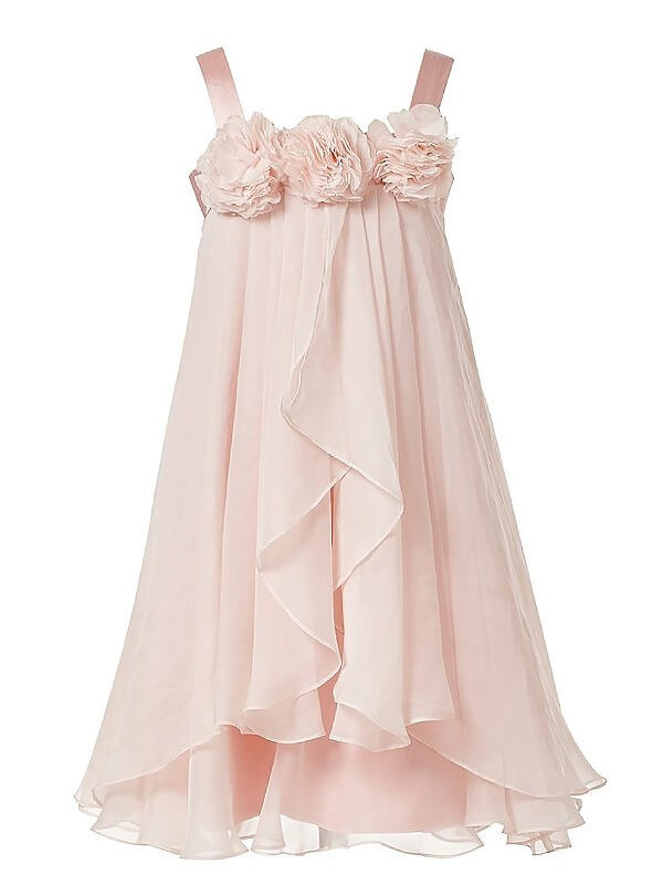 Tea-Length A-Line/Princess Straps Sleeveless Hand-Made Flower Chiffon Flower Girl Dresses