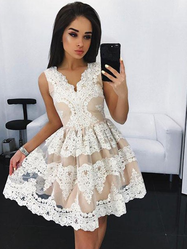 Short/Mini A-Line/Princess V-neck Sleeveless Lace Tulle Dresses