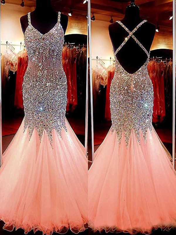 Floor-Length Trumpet/Mermaid V-neck Sleeveless Sequin Tulle Dresses