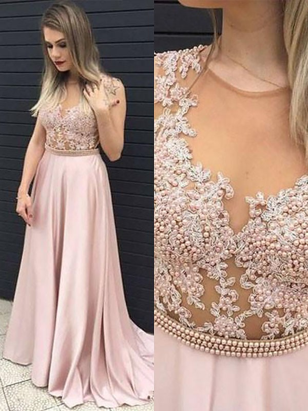 Floor-Length A-Line/Princess V-neck Sleeveless Lace Satin Dresses