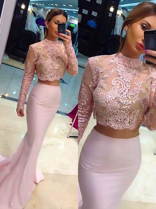 Sweep/Brush Train A-Line/Princess High Neck Long Sleeves Lace Satin Dresses