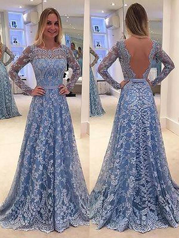 Floor-Length A-Line/Princess Bateau Long Sleeves Ruffles Lace Dresses