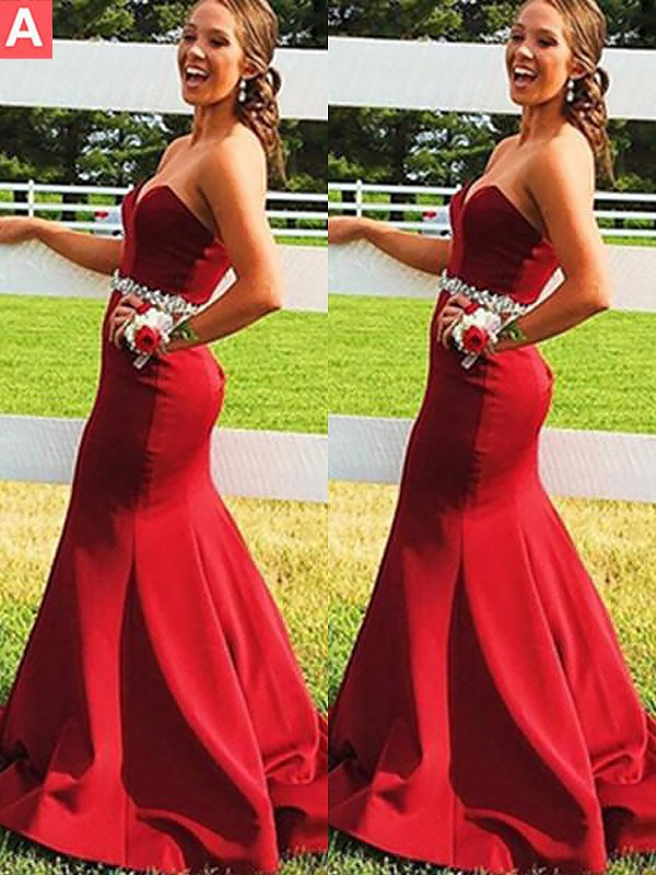 Sweep/Brush Train Trumpet/Mermaid Sweetheart Sleeveless Beading Satin Dresses