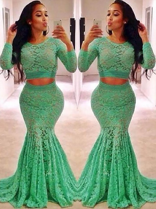 Sweep/Brush Train Trumpet/Mermaid Scoop Long Sleeves Ruffles Lace Dresses