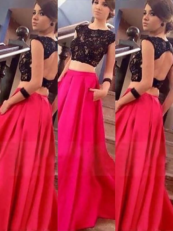 Floor-Length A-Line/Princess Bateau Sleeveless Lace Satin Dresses