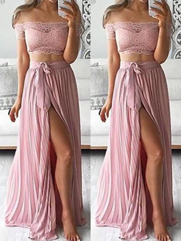 Floor-Length A-Line/Princess Off-the-Shoulder Sleeveless Lace Chiffon Dresses