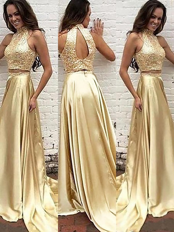 Sweep/Brush Train A-Line/Princess High Neck Sleeveless Beading Satin Dresses