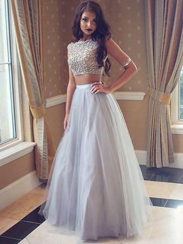Floor-Length A-Line/Princess Bateau Sleeveless Beading Tulle Dresses