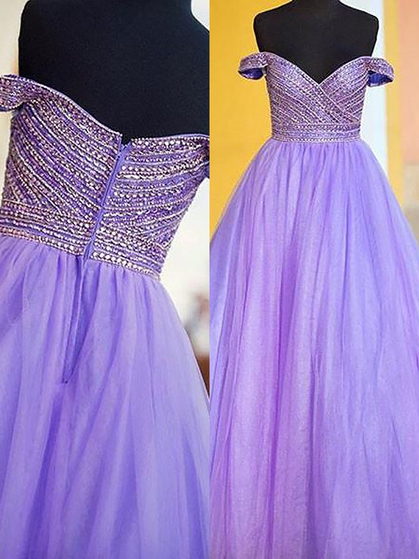 Floor-Length Ball Gown Off-the-Shoulder Sleeveless Beading Tulle Dresses