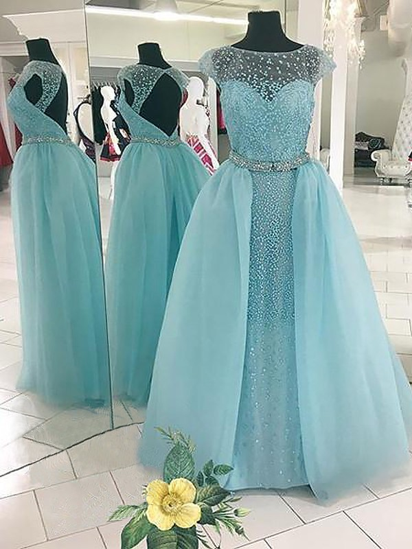Floor-Length Ball Gown Bateau Sleeveless Beading Tulle Dresses