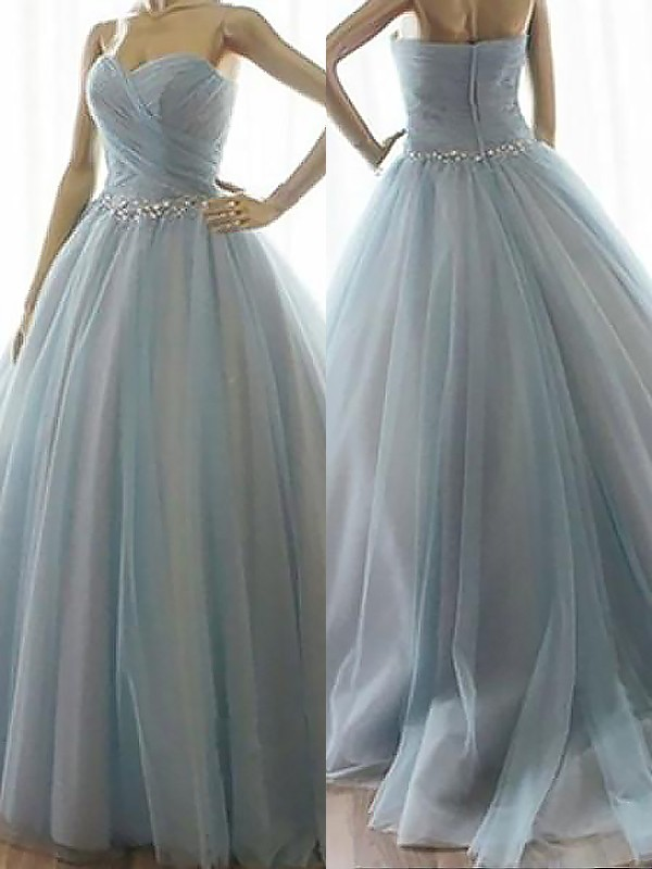 Floor-Length Ball Gown Sweetheart Sleeveless Beading Tulle Dresses