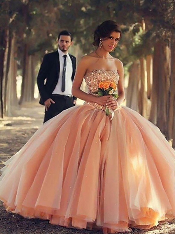 Floor-Length Ball Gown Strapless Sleeveless Beading Tulle Dresses
