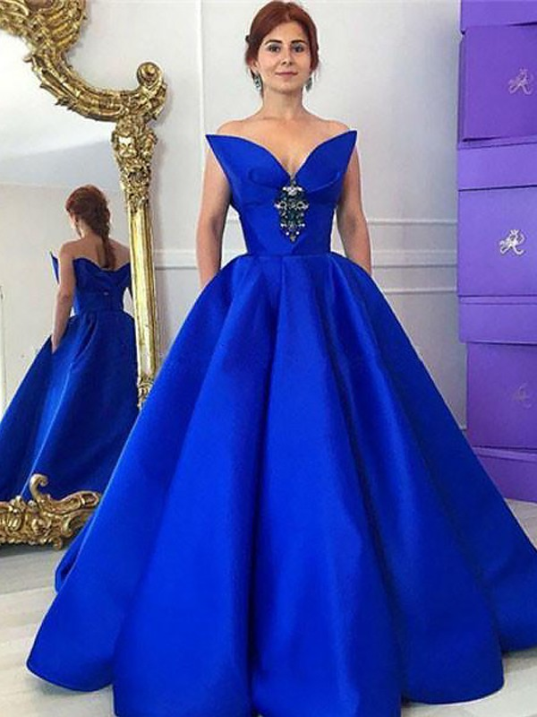 Floor-Length Ball Gown V-neck Sleeveless Ruffles Satin Dresses