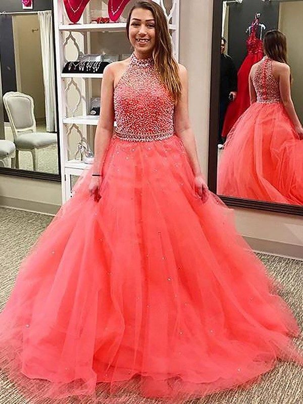 Floor-Length Ball Gown Halter Sleeveless Beading Tulle Dresses
