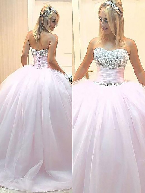 Floor-Length Ball Gown Sweetheart Sleeveless Beading Tulle Dresses