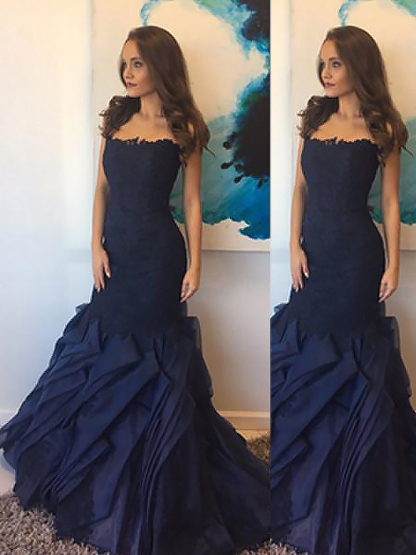 Floor-Length Trumpet/Mermaid Strapless Sleeveless Lace Taffeta Dresses
