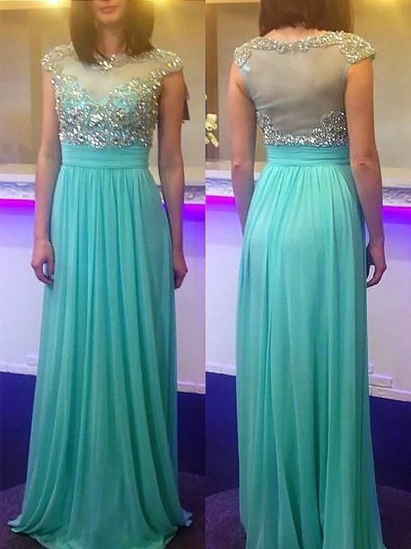 Floor-Length A-Line/Princess Bateau Sleeveless Beading Chiffon Dresses