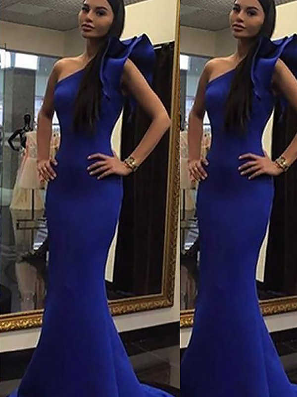 Sweep/Brush Train Trumpet/Mermaid One-Shoulder Sleeveless Ruffles Satin Dresses