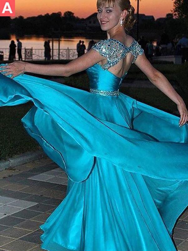 Floor-Length A-Line/Princess Jewel Sleeveless Beading Chiffon Dresses