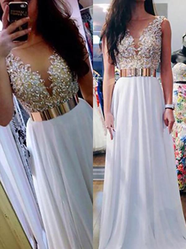 Floor-Length A-Line/Princess V-neck Sleeveless Beading Chiffon Dresses