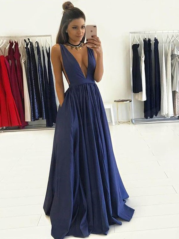 Floor-Length A-Line/Princess V-neck Sleeveless Taffeta Dresses