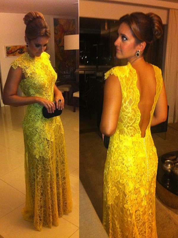Floor-Length A-Line/Princess High Neck Short Sleeves Lace Lace Dresses