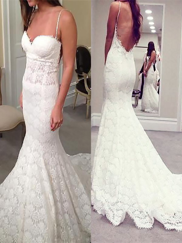 Court Train Trumpet/Mermaid Sleeveless Spaghetti Straps Lace Wedding Dresses