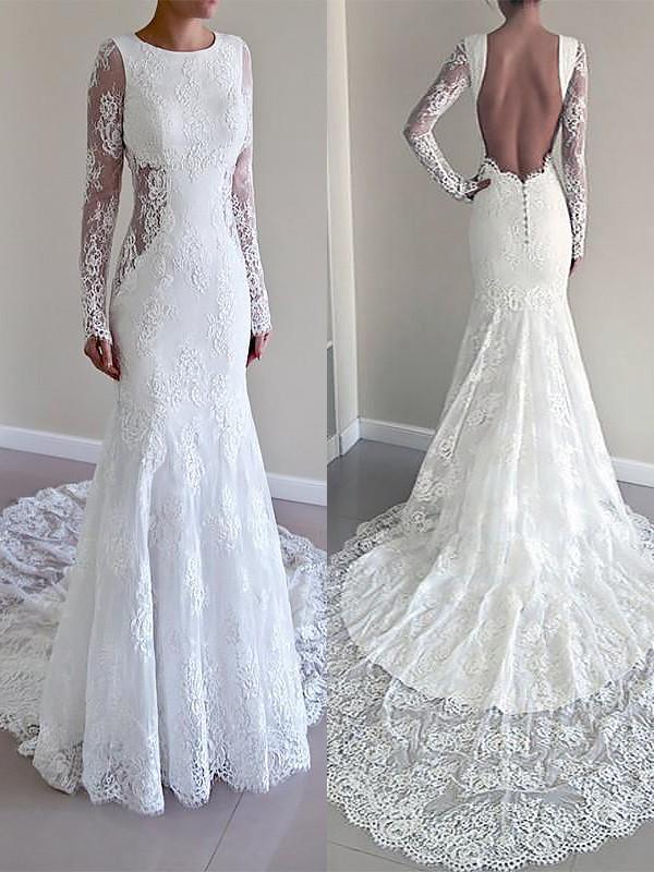 Court Train Trumpet/Mermaid Long Sleeves Scoop Lace Wedding Dresses