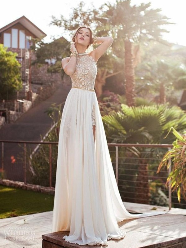 Sweep/Brush Train A-Line/Princess Halter Sleeveless Lace Chiffon Dresses