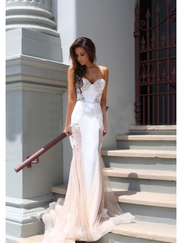 Chapel Train Trumpet/Mermaid Sweetheart Sleeveless Applique Tulle Dresses