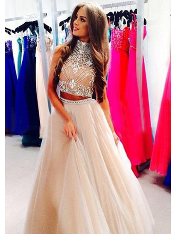 Floor-Length A-Line/Princess High Neck Sleeveless Beading Tulle Dresses