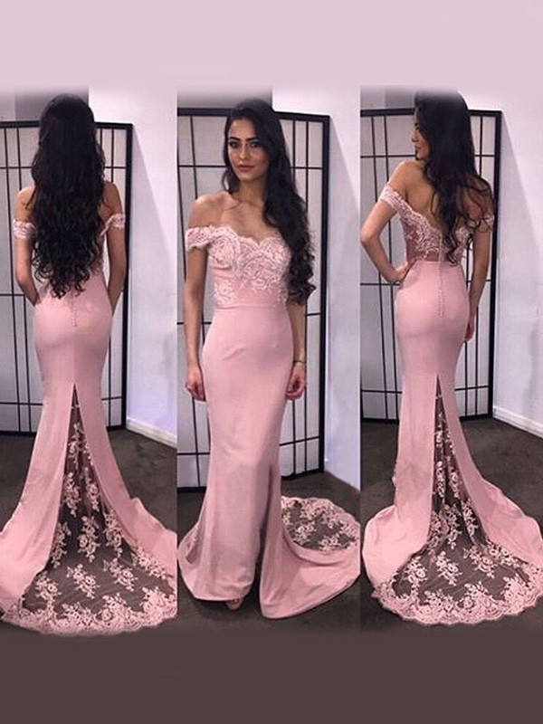 Sweep/Brush Train Trumpet/Mermaid Off-the-Shoulder Long Sleeves Lace Satin Dresses