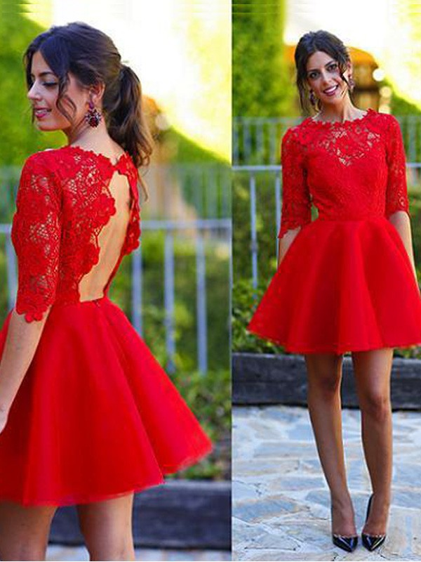 Short/Mini A-Line/Princess Scoop 1/2 Sleeves Lace Lace Dresses