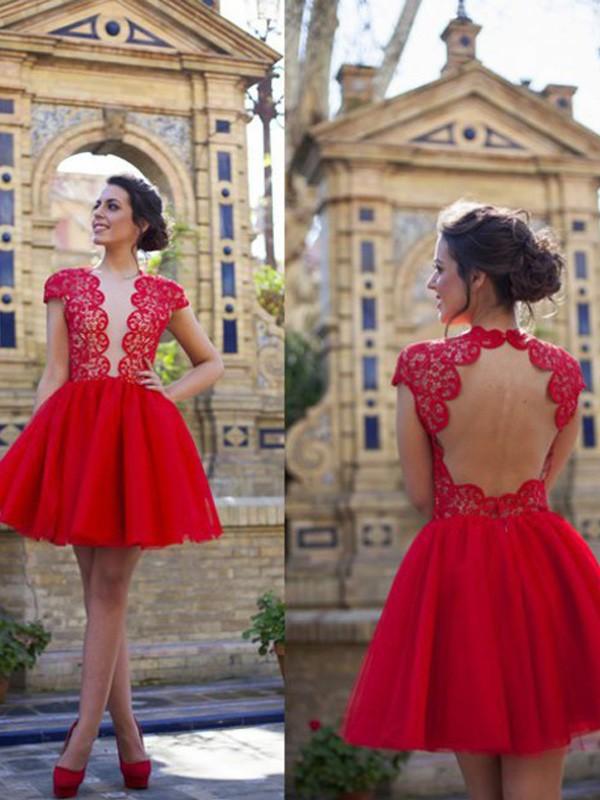 Short/Mini A-Line/Princess Scoop Short Sleeves Lace Tulle Dresses