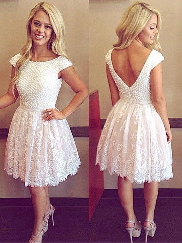 Short/Mini A-Line/Princess Scoop Short Sleeves Pearls Lace Dresses