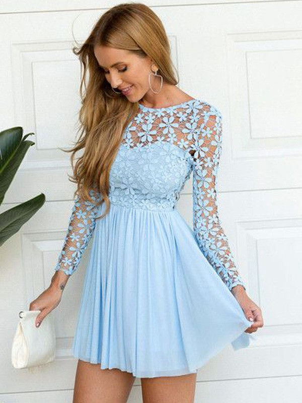 2010ceb550 Short Mini A-Line Princess Scoop Long Sleeves Lace Chiffon Dresses