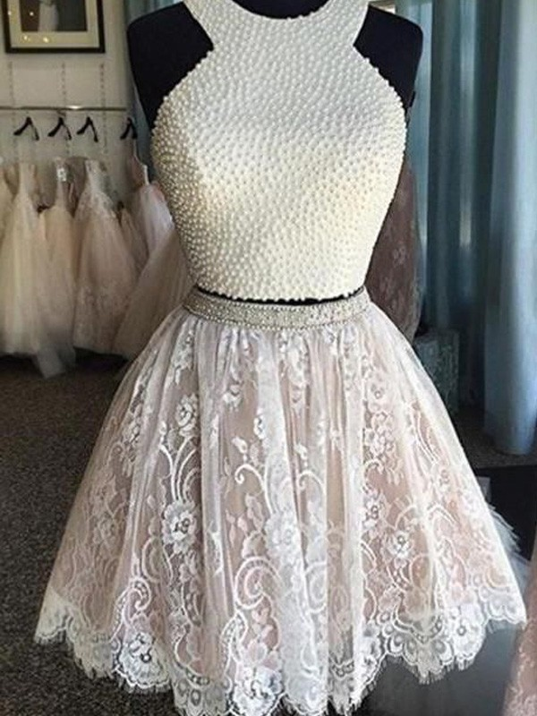 Short/Mini A-Line/Princess Halter Sleeveless Pearls Lace Dresses