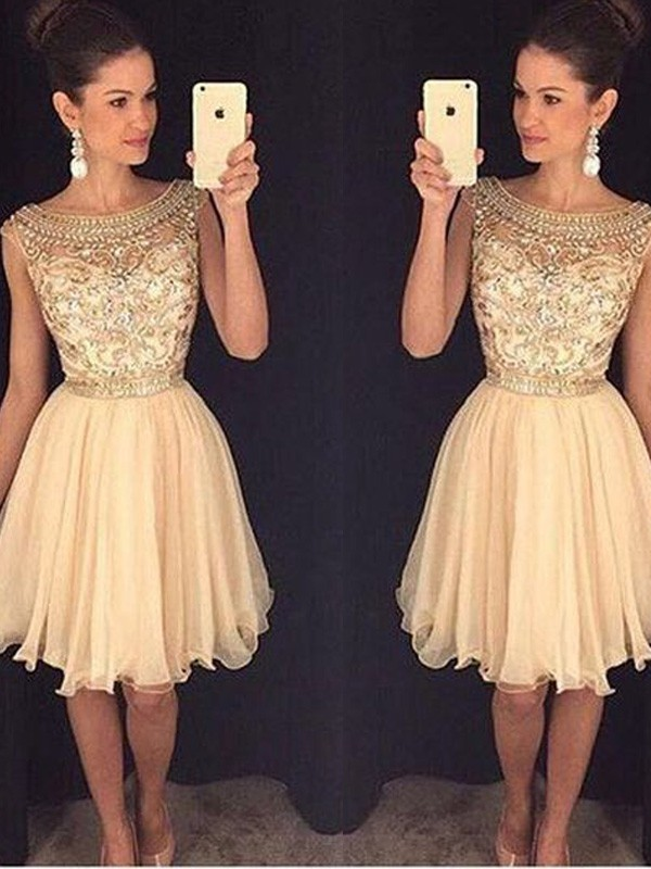 Short/Mini A-Line/Princess Scoop Sleeveless Beading Chiffon Dresses