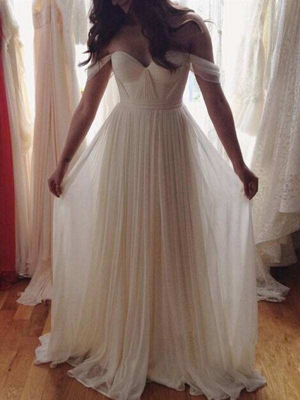 Floor-Length A-Line/Princess Off-the-Shoulder Sleeveless Beading Chiffon Dresses
