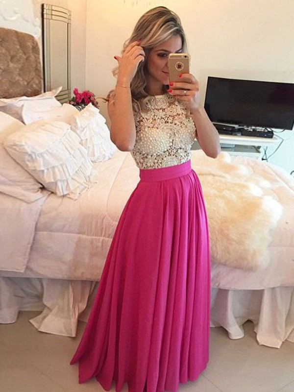 Floor-Length A-Line/Princess Scoop Sleeveless Lace Chiffon Dresses