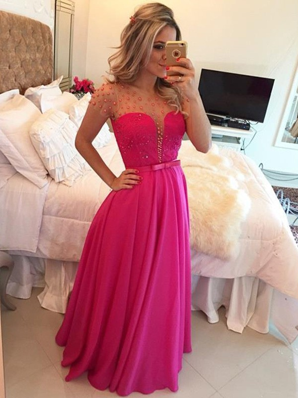 Floor-Length A-Line/Princess Scoop Short Sleeves Beading Chiffon Dresses