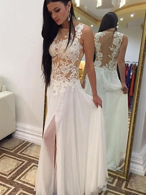 Floor-Length A-Line/Princess Scoop Sleeveless Applique Chiffon Dresses