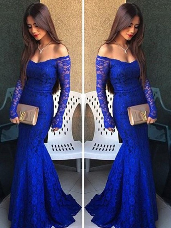 Floor-Length Trumpet/Mermaid Off-the-Shoulder Long Sleeves Lace Lace Dresses