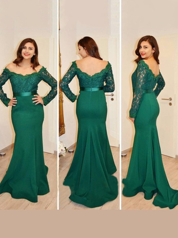 Floor-Length Trumpet/Mermaid Off-the-Shoulder Long Sleeves Applique Satin Dresses