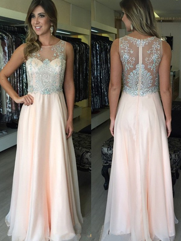 Floor-Length A-Line/Princess Scoop Sleeveless Beading Chiffon Dresses
