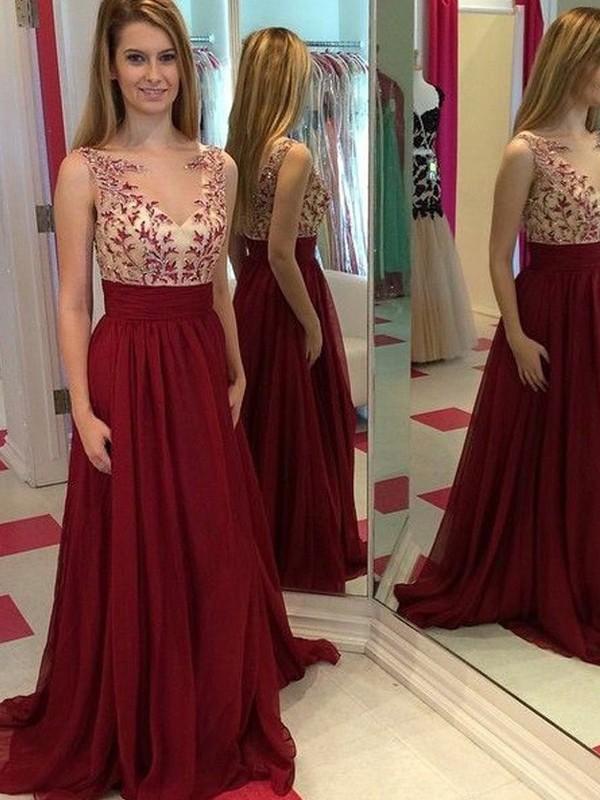 Floor-Length A-Line/Princess Bateau Sleeveless Applique Chiffon Dresses