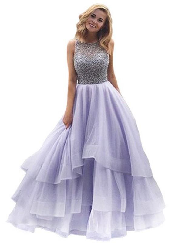 Floor-Length Ball Gown Scoop Sleeveless Beading Organza Dresses