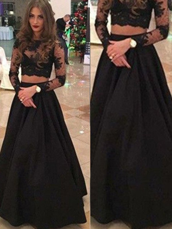 Floor-Length A-Line/Princess Scoop Long Sleeves Lace Lace Dresses